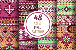 48 Aztec pixel seamless patterns