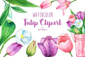Watercolor Tulip Bouquet & Clipart