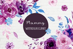 Watercolor Clipart Plummy
