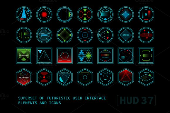 Futuristic User Interface Elements Icons Creative Market