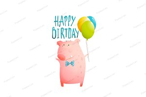 Pig Greeting Happy Birthday Card
