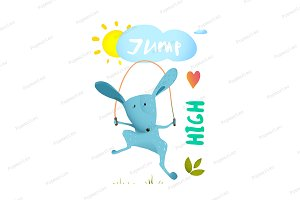 Rabbit jumping rope for kids.