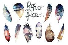 Watercolor Boho Feathers Vector Set