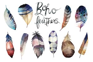 Watercolor Boho Feathers Vector Set
