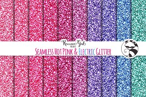 Seamless Hot Pink & Electric Glitter