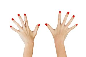 Women's hands shows ten fingers
