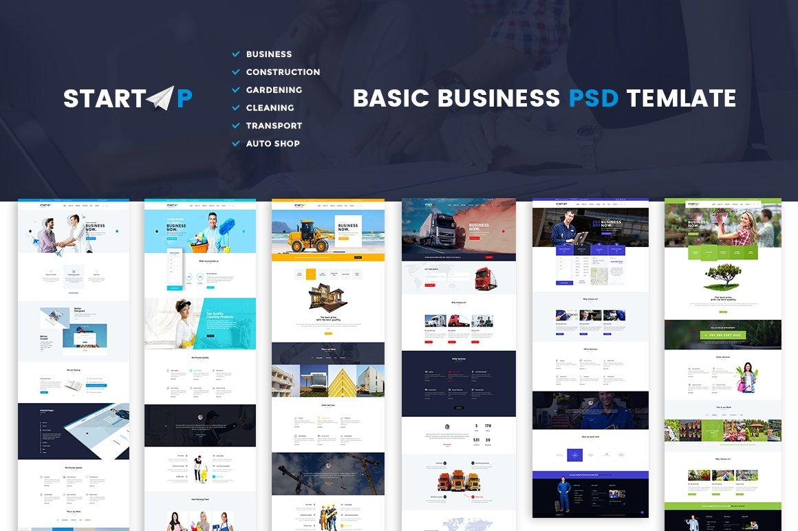 startup basic business psd website website templates creative market. Black Bedroom Furniture Sets. Home Design Ideas