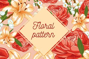 Floral pattern and card
