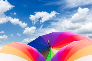 Open rainbow umbrellas