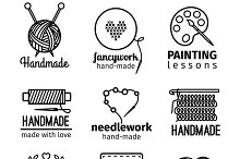 Handmade workshop thin line logo set