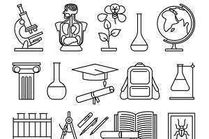Science and education line icons