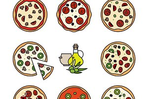 Different pizza line icons