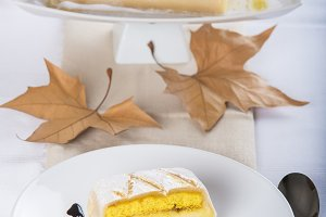 Cake with marzipan and pastry cream