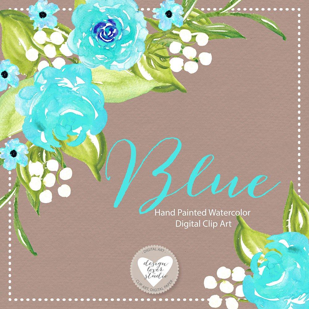 Watercolor blue flowers illustrations creative market izmirmasajfo