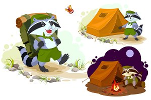 Summer holiday camp. Scout raccoon