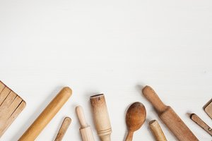 Kitchen utensils on the white table