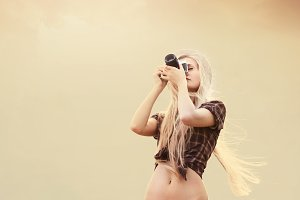 long-haired blonde photographs
