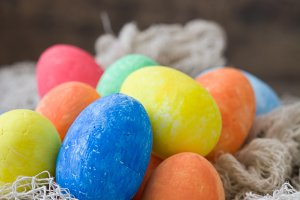 Traditional Easter eggs in a nest