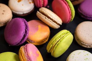 Assorted colourful macarons