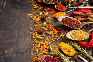 Various aromatic colorful spices