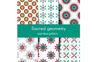 Sacred geometry seamless pattern set