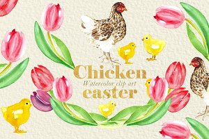 Chicken easter.Watercolor clipart