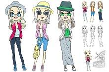 Set beautiful fashion girls