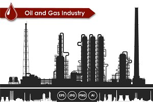 Oil and gas refinery plant vector