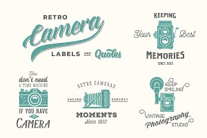 Retro Vector Camera Labels/Quotes