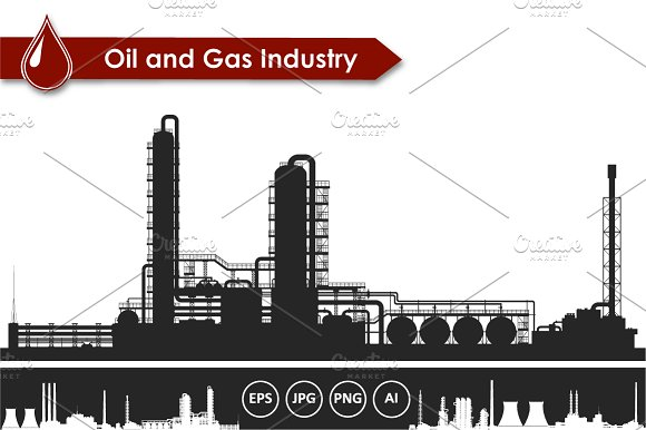 Oil and gas refinery vector set in Illustrations