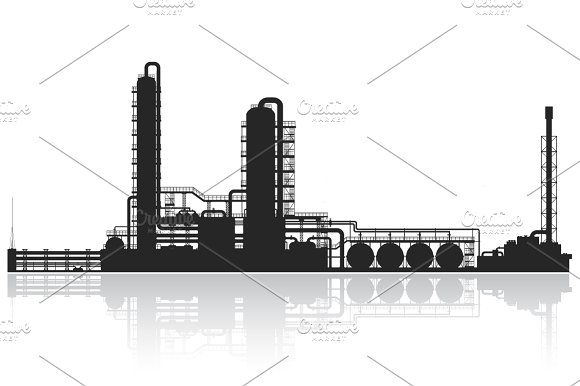 Oil and gas refinery vector set in Illustrations - product preview 2
