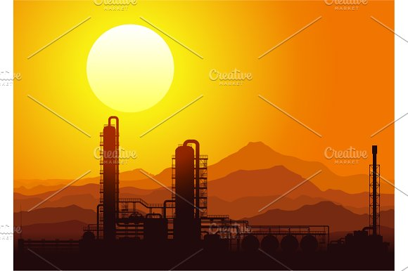 Oil and gas refinery vector set in Illustrations - product preview 1
