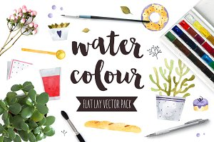 Watercolor Flat Lay Vector Pack