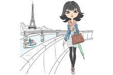 Beautiful fashion girl in Paris