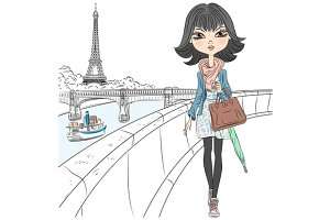 Beautiful fashion girl in Paris