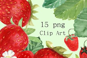 15 Watercolor Strawberries Clip Art