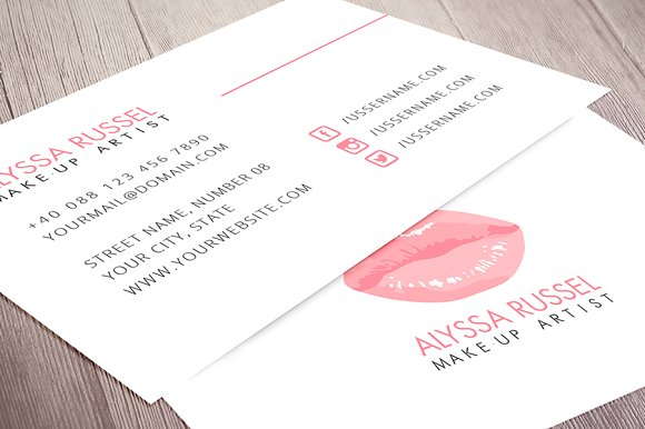 Makeup artist business card business card templates creative makeup artist business card business card templates creative market reheart Choice Image