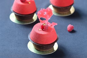 Chocolate Raspberry Mousse Cakes