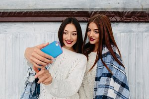 Two girls make selfie