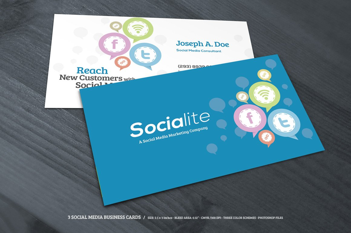 3 Social Media Business Cards ~ Business Card Templates ~ Creative ...
