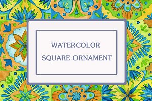 watercolor square ornament