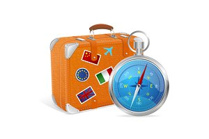 Blue Compass and Suitcase. Vector