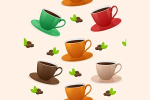Seamless Pattern Coffee Cups