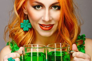 Red hair girl in Saint Patrick's Day