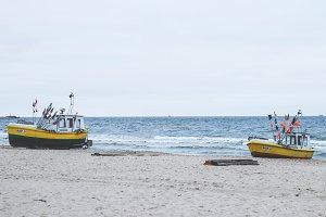Boats at sea shore
