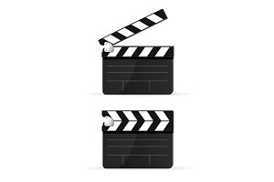 Movie Clapper Board Set . Vector