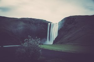 Waterfall and Mountain (Vintage)