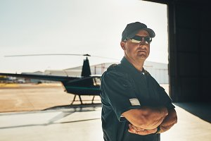Confident helicopter pilot