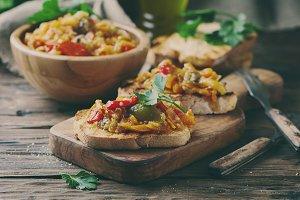Vegeterian italian bruschetta