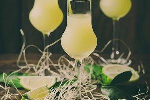 Italian luqueur limoncello